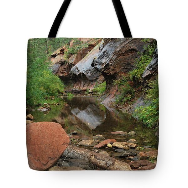 West Fork Trail River And Rock Vertical Tote Bag by Heather Kirk