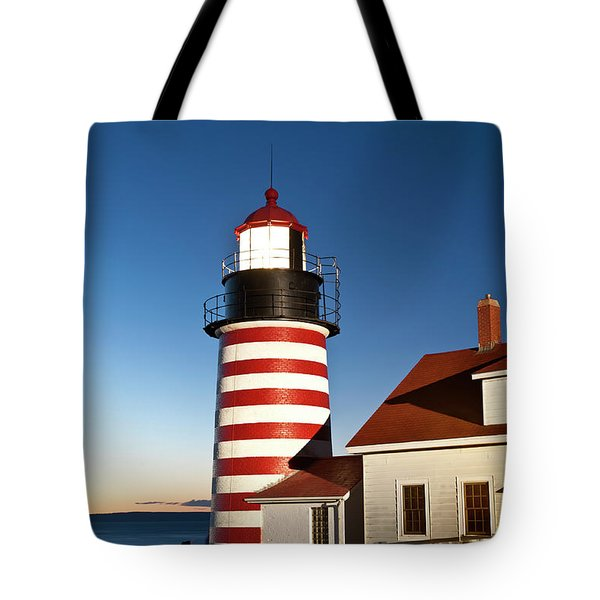 West Quoddy Head Lighthouse Maine Tote Bag by John Greim