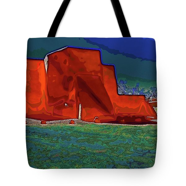 West view of church in Ranchos Tote Bag by Charles Muhle