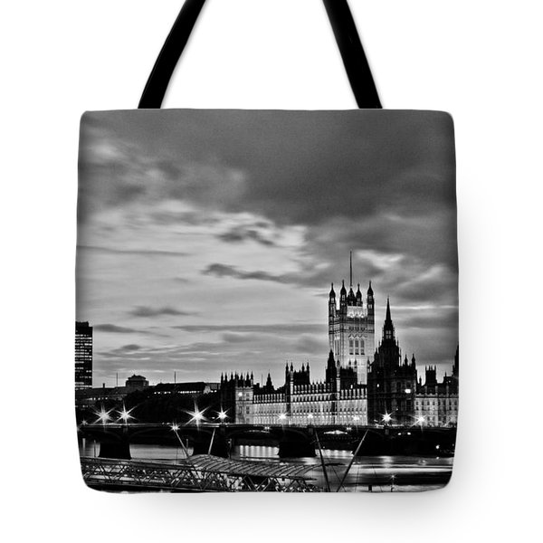 Westminster black and white Tote Bag by Dawn OConnor