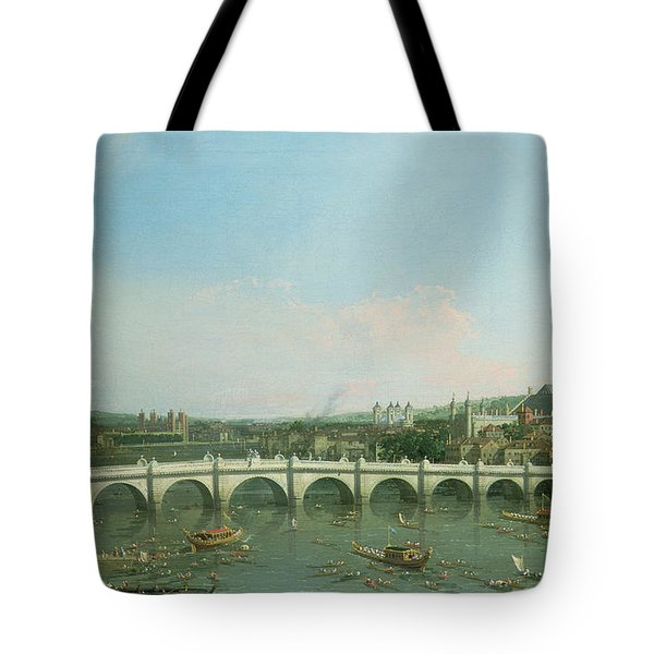Westminster Bridge From The North With Lambeth Palace In Distance Tote Bag by Canaletto