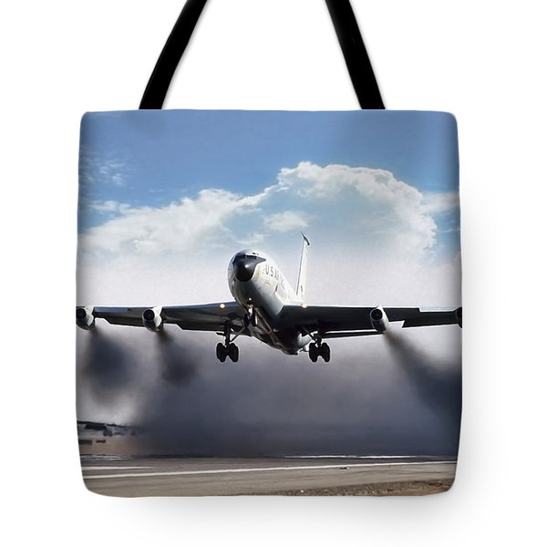 Wet Takeoff Kc-135 Tote Bag by Peter Chilelli