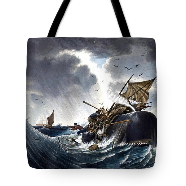 Whale Destroying Whaling Ship Tote Bag by American School