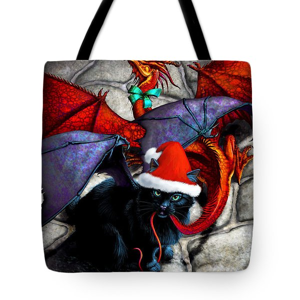 What The Catabat Dragged In For Christmas  Card Tote Bag by Stanley Morrison