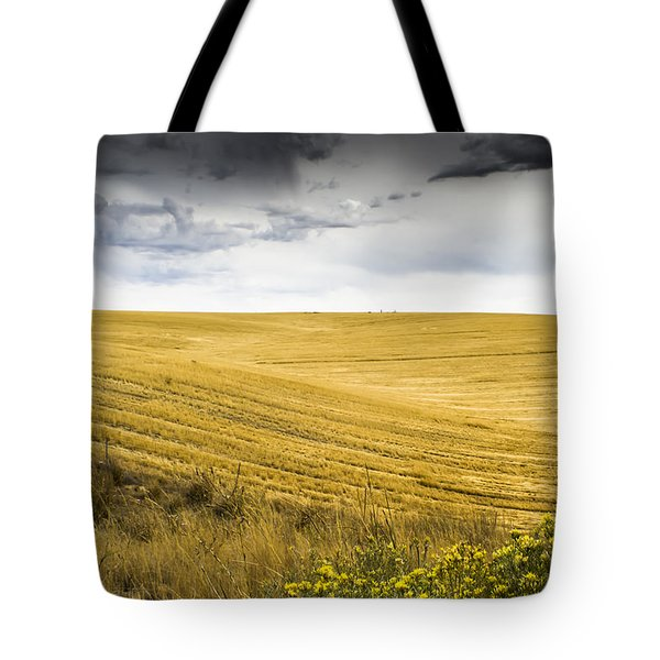 Wheat Fields With Storm Tote Bag by John Trax