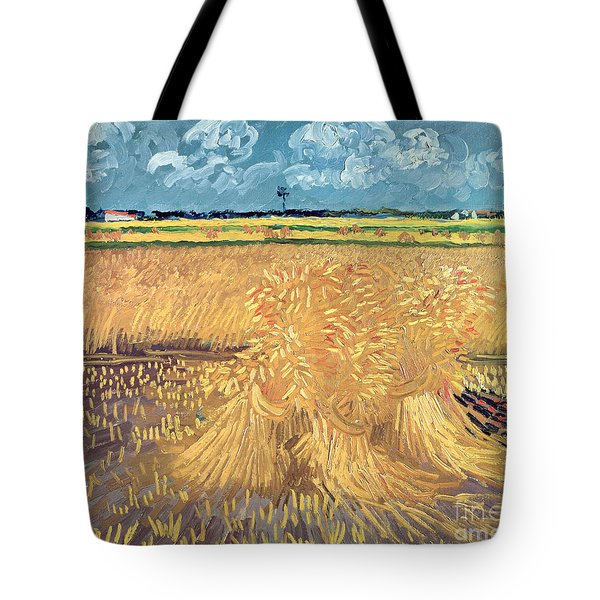 Wheatfield With Sheaves Tote Bag by Vincent van Gogh