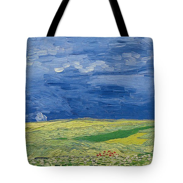 Wheatfields Under Thunderclouds Tote Bag by Vincent Van Gogh