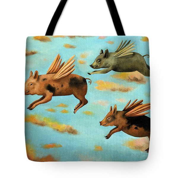 When Pigs Fly Tote Bag by Leah Saulnier The Painting Maniac