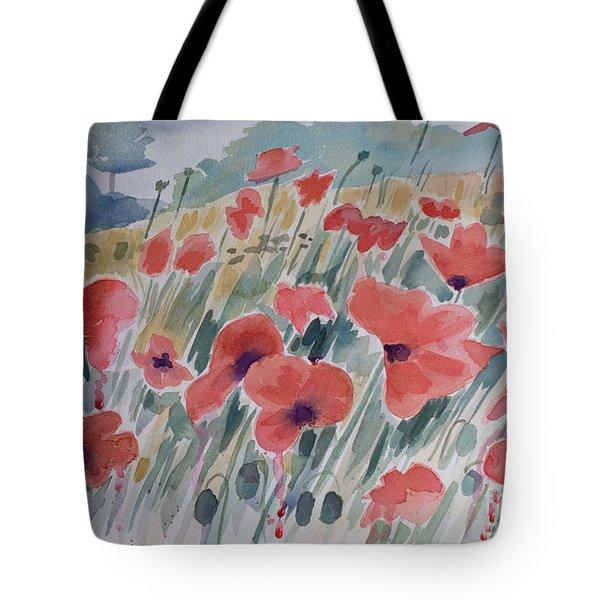 Where Poppies Grow Tote Bag by Barbara McMahon
