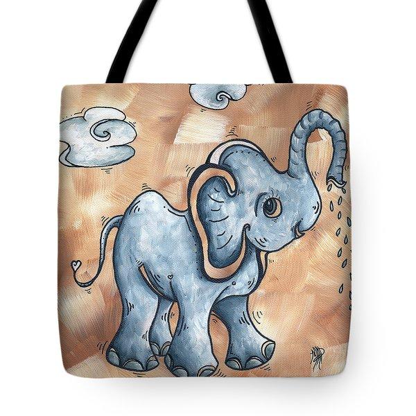 Whimsical Pop Art Childrens Nursery Original Elephant Painting ADORABLE by MADART Tote Bag by Megan Duncanson