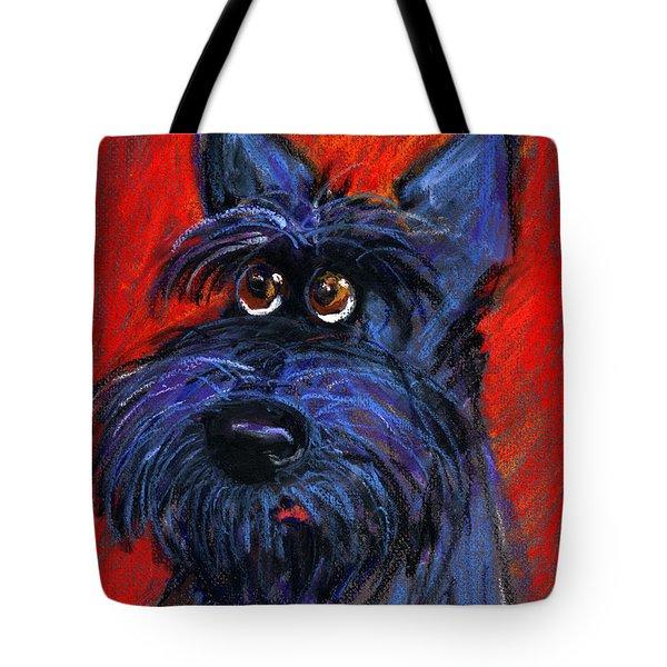 whimsical Schnauzer dog painting Tote Bag by Svetlana Novikova