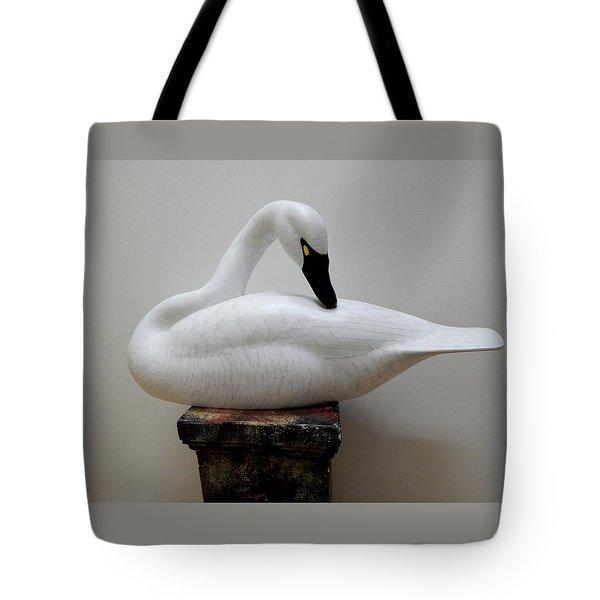 Whistling Tundra Swan Preening Tote Bag by Robert G Kerr