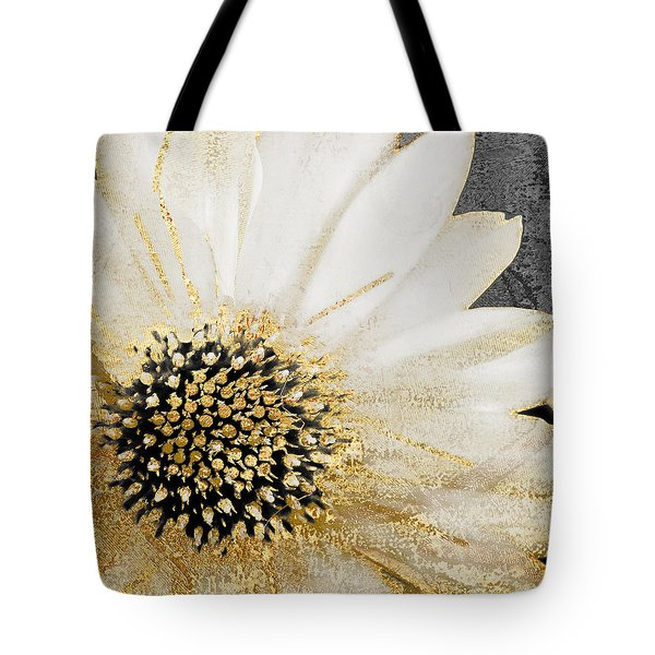 White And Gold Daisy Tote Bag by Mindy Sommers