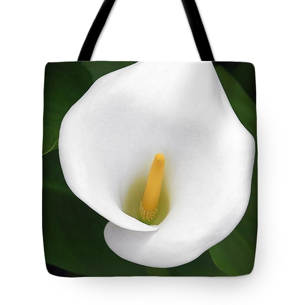 White Calla Lily Tote Bag by Christine Till