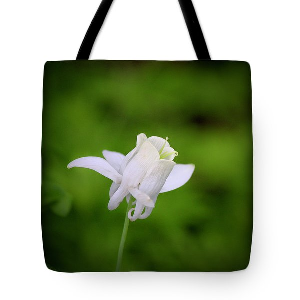 White Columbine Squared Tote Bag by Teresa Mucha