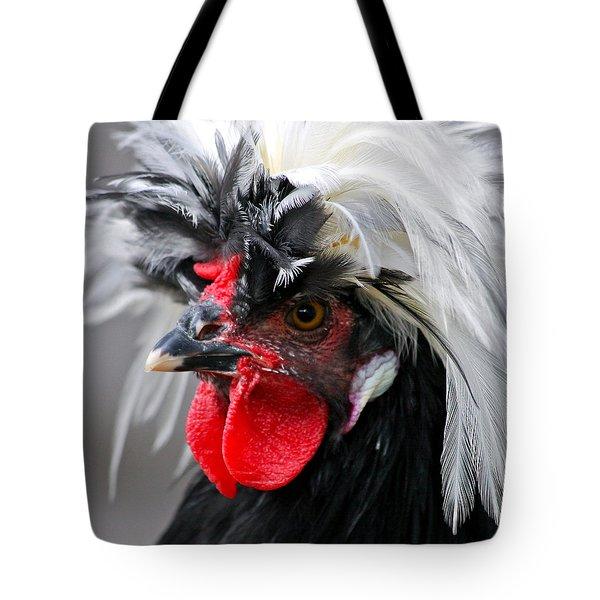 White Crested Black Polish Cockerel Tote Bag by Karon Melillo DeVega