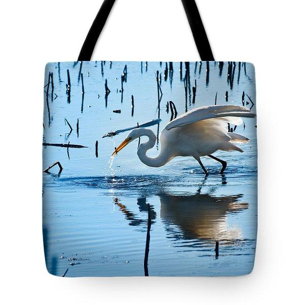 White Egret At Horicon Marsh Wisconsin Tote Bag by Steve Gadomski