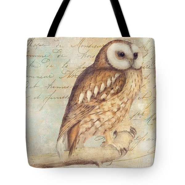 White Faced Owl Tote Bag by Mindy Sommers