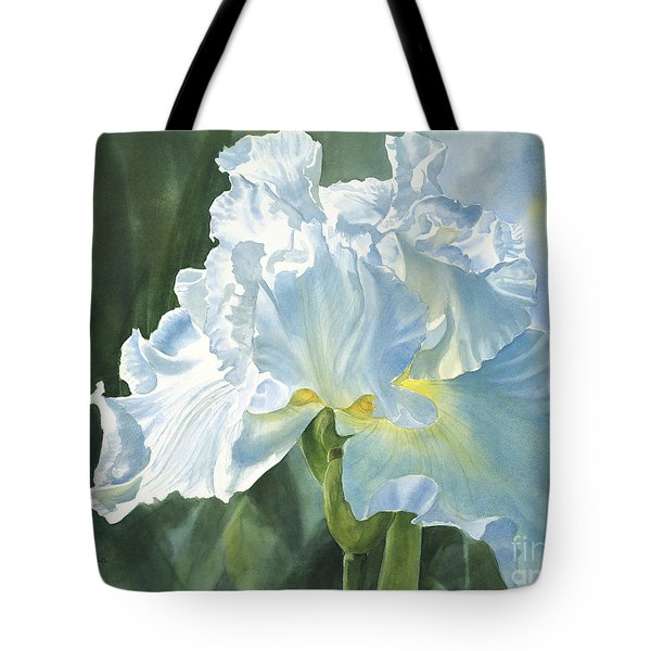 White Iris Tote Bag by Sharon Freeman