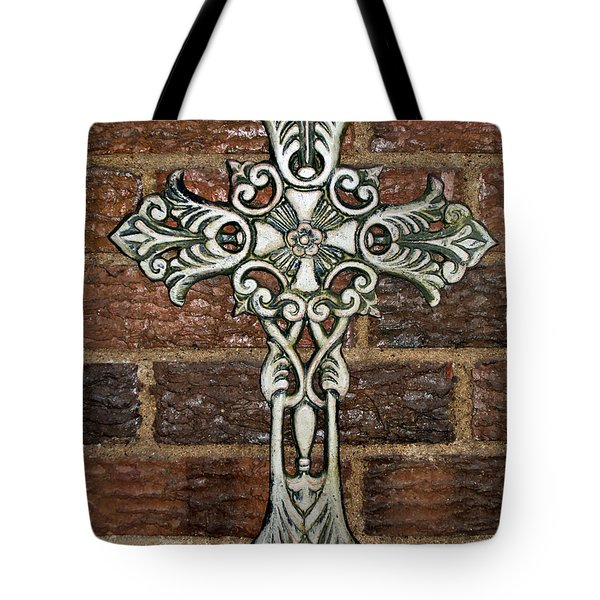 White Iron Cross 1 Tote Bag by Angelina Vick