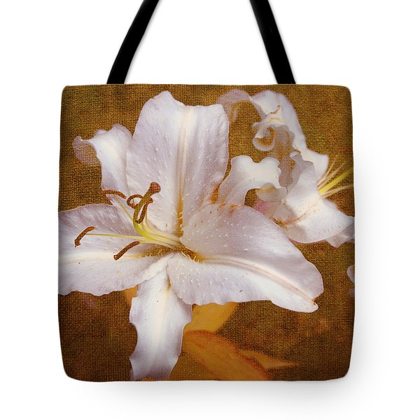 White Lilies. Time to be Romantic Tote Bag by Jenny Rainbow