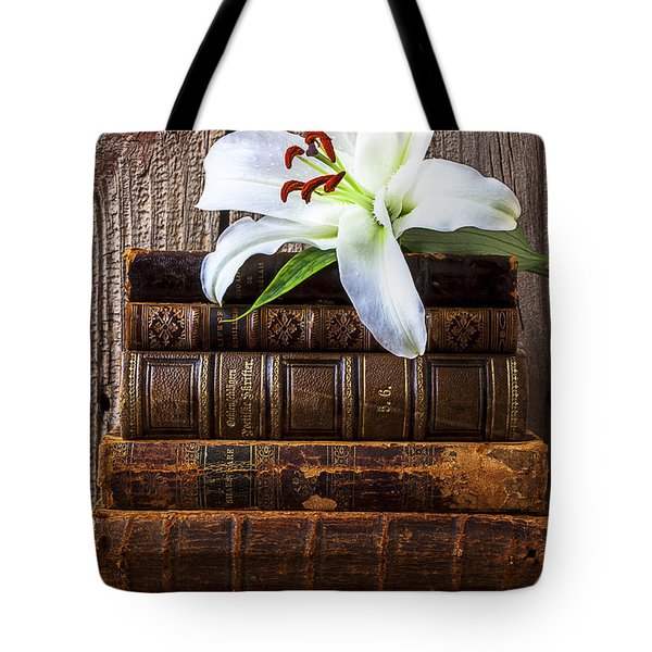 White Lily On Antique Books Tote Bag by Garry Gay