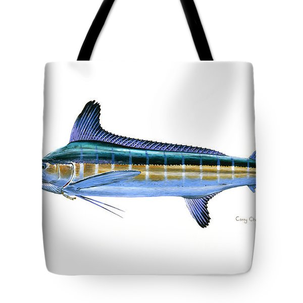 White Marlin Tote Bag by Carey Chen