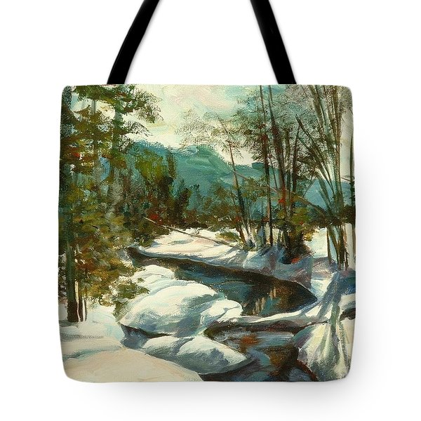 White Mountain Winter Creek Tote Bag by Claire Gagnon