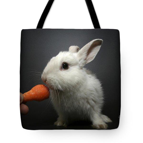 White Rabbit  Tote Bag by Yedidya yos mizrachi