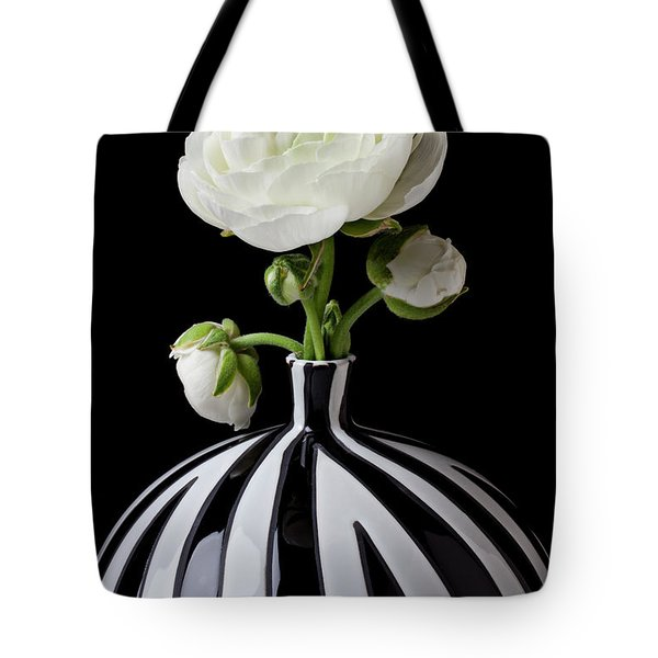 White Ranunculus In Black And White Vase Tote Bag by Garry Gay