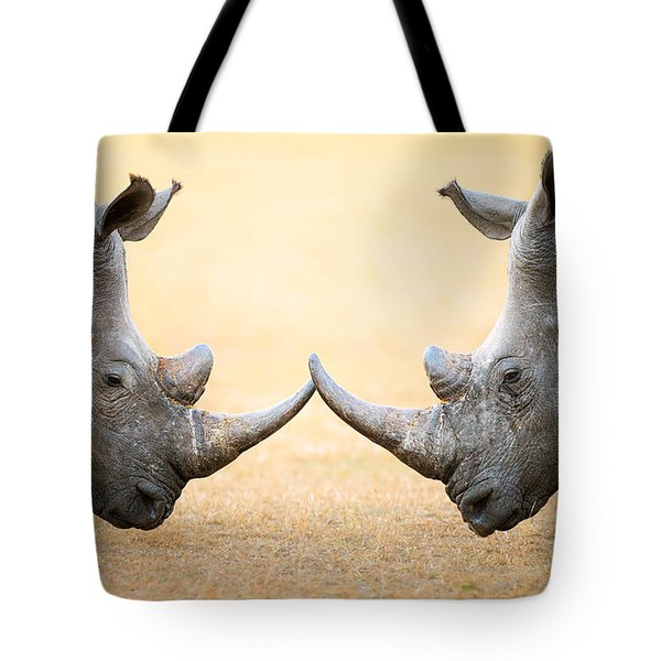 White Rhinoceros  Head To Head Tote Bag by Johan Swanepoel