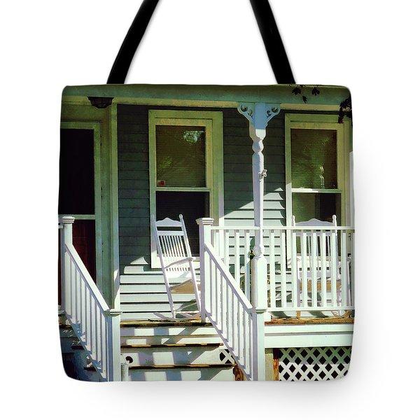 White Rocking Chairs Tote Bag by Susan Savad