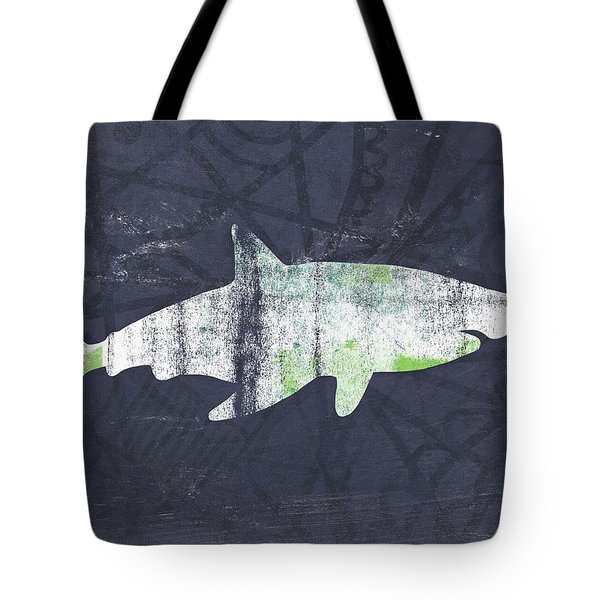 White Shark- Art By Linda Woods Tote Bag by Linda Woods