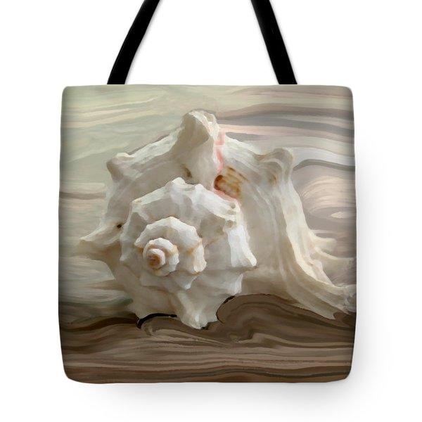 White Shell Tote Bag by Linda Sannuti