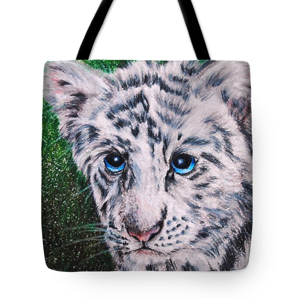 White Tiger Cub Tote Bag by Jai Johnson