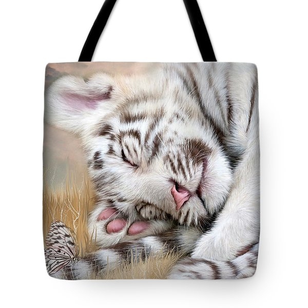 White Tiger Dreams Tote Bag by Carol Cavalaris