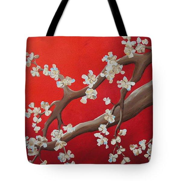 White Tree Blossoms Tote Bag by Shiela Gosselin