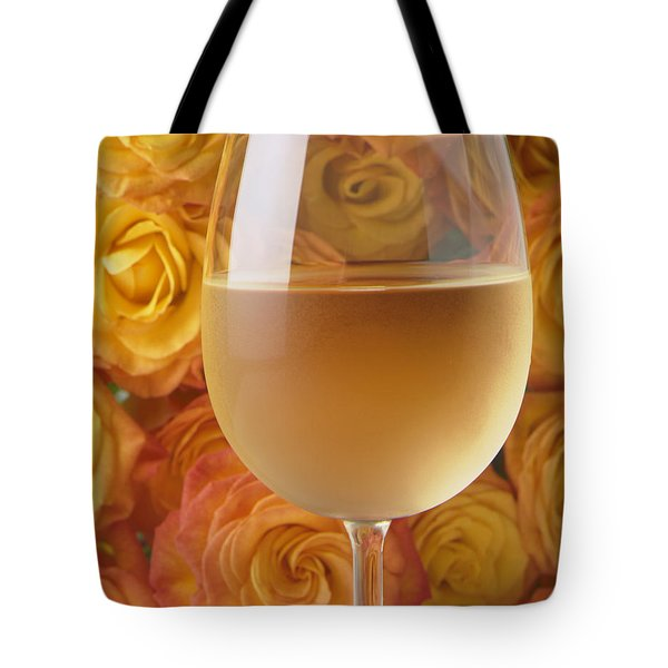 White wine and yellow roses Tote Bag by Garry Gay
