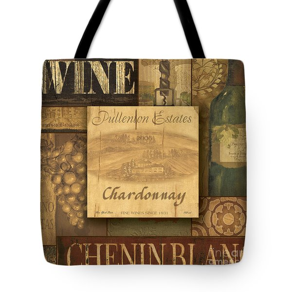 White Wine Collage Tote Bag by Grace Pullen