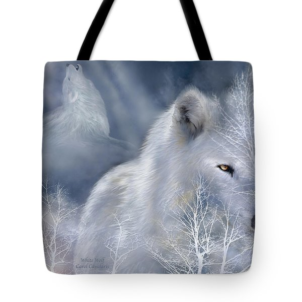 White Wolf Tote Bag by Carol Cavalaris