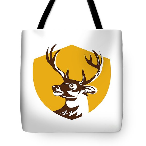 Whitetail Deer Buck Head Crest Retro Tote Bag by Aloysius Patrimonio