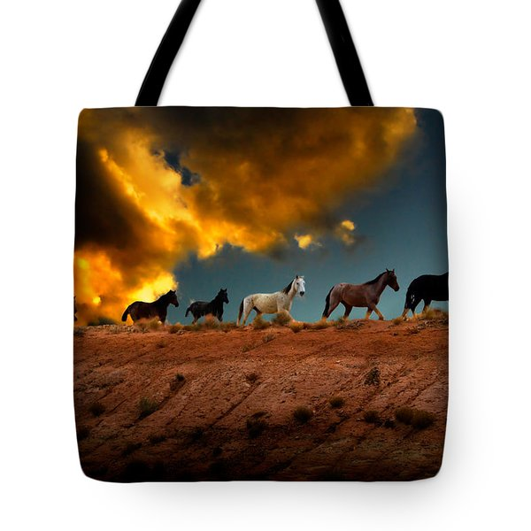 Wild Horses At Sunset Tote Bag by Harry Spitz