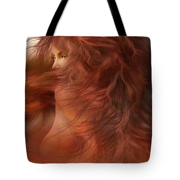 Wild Red Wind Tote Bag by Carol Cavalaris