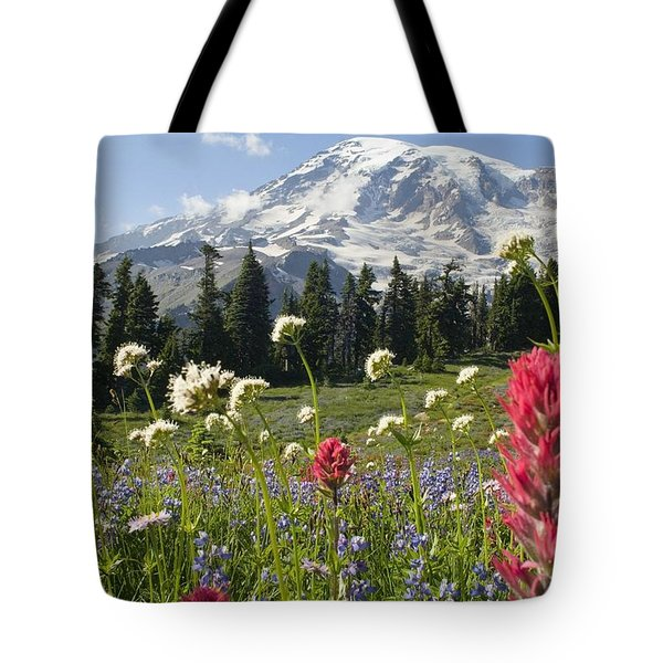 Wildflowers In Mount Rainier National Tote Bag by Dan Sherwood