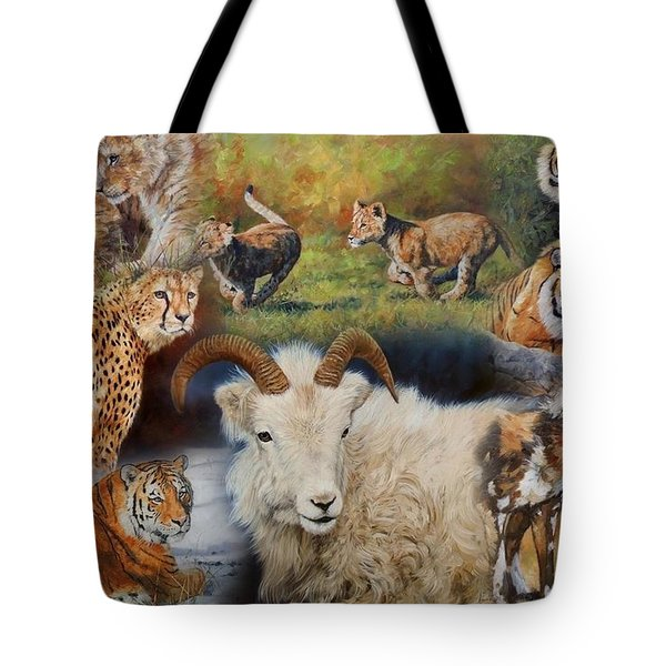 Wildlife Collage Tote Bag by David Stribbling