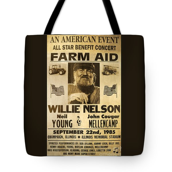 Willie Nelson Neil Young 1985 Farm Aid Poster Tote Bag by John Stephens