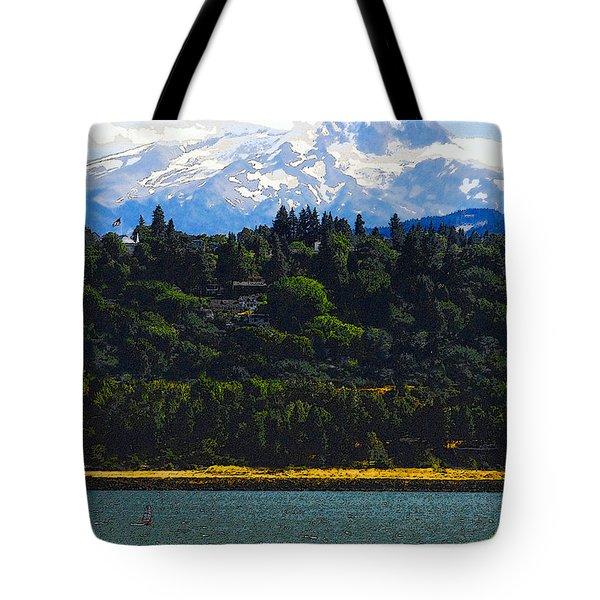 Wind Surfing Mt. Hood Tote Bag by David Lee Thompson
