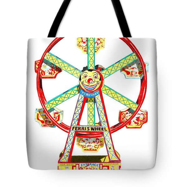 Wind-up Ferris Wheel Tote Bag by Glenda Zuckerman