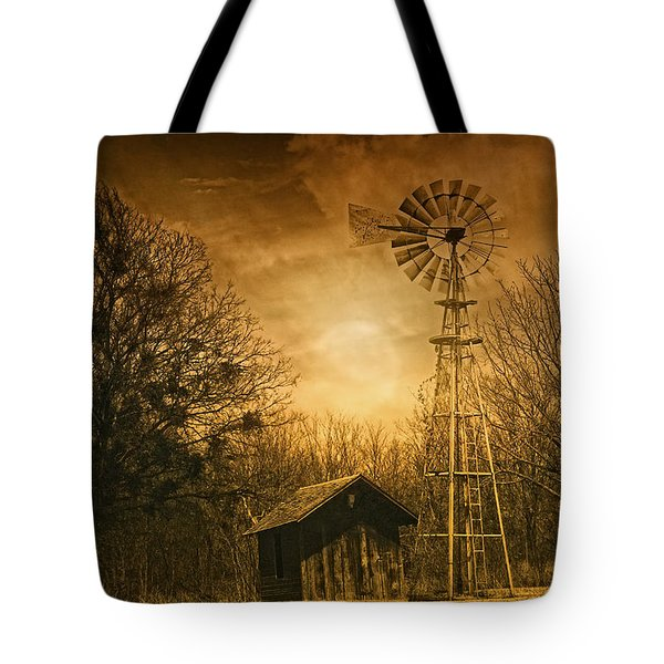Windmill at Sunset Tote Bag by Iris Greenwell