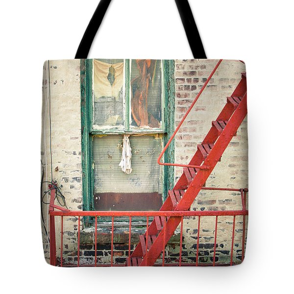 Window And Red Fire Escape Tote Bag by Gary Heller
